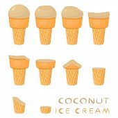 Vector Illustration For Natural Coconut Ice Cream On Waffle Cone. Ice Cream Pattern Consisting Of Sw poster