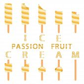 Vector Illustration Logo For Natural Passion Fruit Ice Cream On Stick. Ice Cream Pattern Consisting  poster