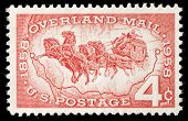 UNITED STATES - CIRCA 1958:Stamp printed by United States  celebrating 100 years of overland mail circa 1958