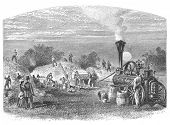 Agriculture in Dakota, USA: Threshing. Image source: Harper's Monthly magazine march 1880.
