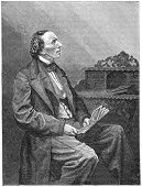 H. C. Andersen (1805-1875) was a Danish  author, fairy tale writer, and poet noted for his children's stories. Engraving from Scribner's Magazine January 1871. The image is currently in public domain.