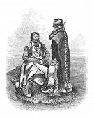 Native American Ute People of southern Colorado. Engraving by unknown artist, published in Harper's