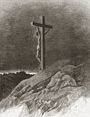 Crucifixion of Jesus. Illustration source: Harper's Monthly Magazine may 1877.