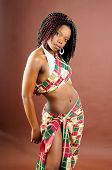 Beautiful African Young Woman Wearing Traditional Style Tribal Clothes