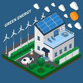 Green Energy Generation For Household Consumption Isometric Composition With Roof Solar Panels And W poster