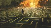 Destroyed Maze Concept Showing The Man Standing In A Burnt Labyrinth Land, Digital Art Style, Illust poster