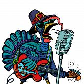 Thanksgiving Turkey Character Singer. Holiday Party. Isolate On White Background. Comic Cartoon Pop  poster