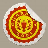 Guaranty Icon On Paper Label Realistic Paper Sticker With Curved Edge poster