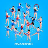 Aqua Aerobics Isometric Composition On Blue Background Men And Women With Sport Equipment During Tra poster