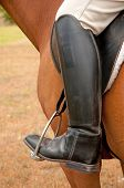 Closeup of a foot in a stirrup