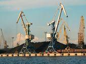 Ship crane in port load coals