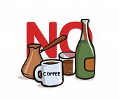 Say No To Alcohol And Caffeine. Alcohol, Caffeine Free. Flat Vector Illustration. Isolated On White  poster