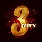 3 Years Golden Anniversary 3d Logo Celebration With Gold Glittering Spiral Star Dust Trail Sparkling poster
