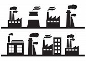 Set Of Industry Manufactory Building Icons. Plant And Factory, Power And Smoke, Oil And Energy poster