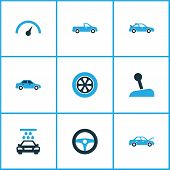 Automobile Icons Colored Set With Drive Control, Stick, Crossover And Other Speedometer Elements. Is poster