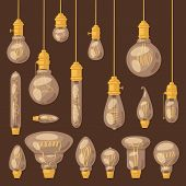 Light Bulb Vector Lightbulb Idea Solution Icon And Electric Lighting Lamp Illustration Set Of Realis poster