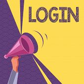 Conceptual Hand Writing Showing Login. Business Photo Text Entering Website Blog Using Username And  poster