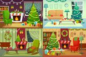 Christmas Room Interior. Xmas Home Decoration, Santa Gifts Under Traditional Tree And Winter Holiday poster