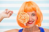 Crazy Girl With Lollipop Feeling Happiness. Happiness And Fun. Crazy Girl Have Lollipop. Sweet Look. poster