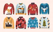 Collection Of Ugly Christmas Sweaters Or Jumpers Isolated On Light Background. Bundle Of Knitted Woo poster