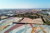 Aerial Photography Torrevieja Townscape. Above View Of Empty Market Parking Area, Square For Transpo poster