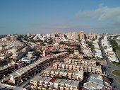 Aerial Panoramic Photo Suburban Houses In Miromar Residential Area Of La Mata. Above Top View Townsc poster