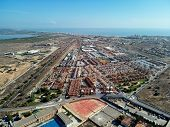 Aerial Photo Of Harbour, Residential Suburban Houses, Highways And Mediterranean Sea Of Torrevieja.  poster