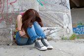 Teenage girls with problems, plenty of copy-space