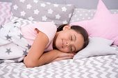 Girl Child Fall Asleep On Pillow. Quality Of Sleep Depends On Many Factors. Choose Proper Pillow To  poster