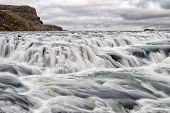 Gullfoss Waterfall Located In Canyon River Southwest Iceland. River Rapid Waterfall. Water Stream Fl poster
