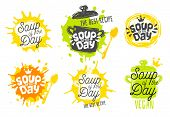Soup Of The Day, Sketch Style Cooking Lettering Icons Set. For Badges, Labels, Logo, Restaurant, Men poster