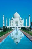 World wonder Taj Mahal in soft daily light with blue sky