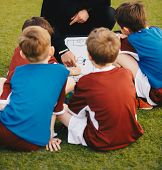 Kids Football Team With Coach At The Soccer Field. Youth Coach Explaining The Tactics Board. Boys Li poster