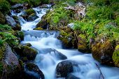 Nice landscape with waterfall on mountain stream poster