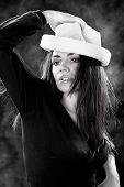 Black and white fashion woman portrait , studio shot