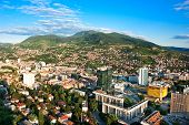 Arial architecture Sarajevo cityscape from bigest building on Balkan, sunset shot