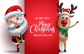 Santa Claus And Reindeer Vector Christmas Characters Holding A Board With Merry Christmas Greeting I poster