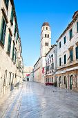 Morning in main street in Dubrovnik, placa Sradun, Croatia