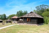 pic of velika  - Traditional Timber ethno houses with Wooden Roof and stone base - JPG