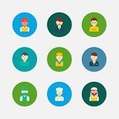 Professional Icons Set. Indian Worker And Professional Icons With Arab Worker, Dentist And Construct poster