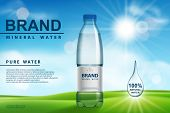 Mineral Water Ad, Plastic Bottle With Pure Mineral Liquid On Sunny Background. Transparent Drinking  poster