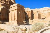 Djinn blocks, three enormous, squat monuments, standing guard beside the path, near the entrance, bu