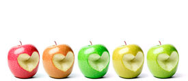 pic of heart shape  - Colorful apples with cut off heart shape - JPG