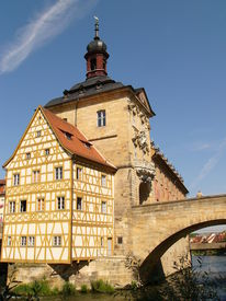 stock photo of regnitz  - Old City Hall for Bamberg on a Bridge over the River Regnitz - JPG