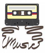Cassette con música en cinta