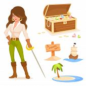 collection of cute illustrations with pirate theme