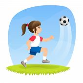 illustration of a cute girl playing football