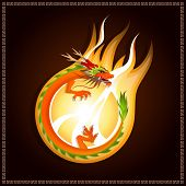 beautiful Chinese dragon on flaming fireball with dark brown background