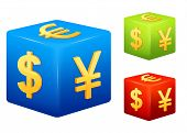 set of currency symbols placed on colorful cubes - dollar, yen and euro