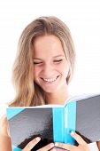 Smiling Teenager Reading A Book